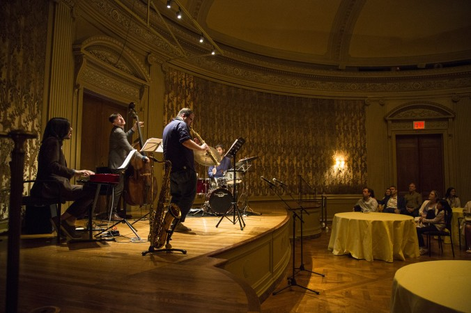 The Fat Afro Latin Jazz Cats perform during the First Fridays event at The Frick Collection in New York City on June 2, 2017. (Samira Bouaou/The Epoch Times)