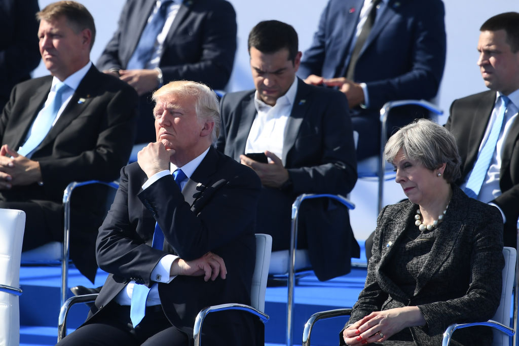 President Donald Trump (C) and Britain's Prime Minister Theresa May (R) during the NATO (North Atlantic Treaty Organization) summit ceremony at the NATO headquarters in Brussels, Belgium on May 25, 2017.(Justin Tallis - Pool/Getty Images)