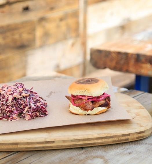 Ribs and burger at Pig Beach. (Courtesy of Pig Beach)