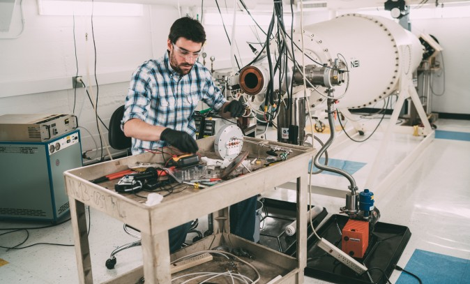 PhD student Brandon Sorbom at MIT's Plasma Science and Fusion Center, who is working on expanding the possibly of fusion energy. (Lillie Paquette/MIT School of Engineering)