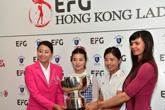 (L-R) Players Kuo Al-Chen of Taiwan, Zhang Weiwei of China, Tiffany Chan of Hong Kong, and Sharmila Nicollet of India at the press conference at Hong Kong Golf Club Fanling on Wednesday June 7, 2017. (Bill Cox/Epoch Times)