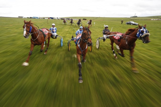 Competitors at the Pikehall harness race in Matlock, England, on June 11, 2017. (Alan Crowhurst/Getty Images)