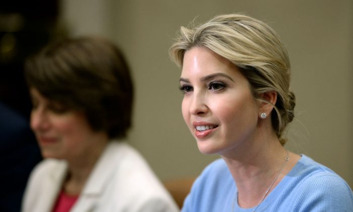 Ivanka Trump at a Human Trafficking event in the Roosevelt Room of the White House in Washington on May 17, 2017. (OLIVIER DOULIERY/AFP/Getty Images)