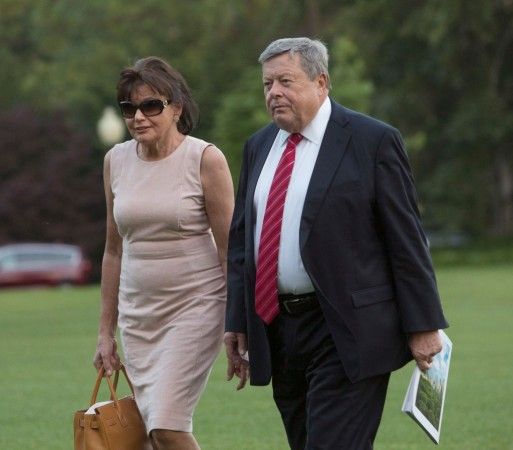 Viktor Knavs and Amalija Knavs, parents of first lady Melania Trump, arrive at the White House with the first family in Washington on June 11, 2017. (Chris Kleponis-Pool/Getty Images)