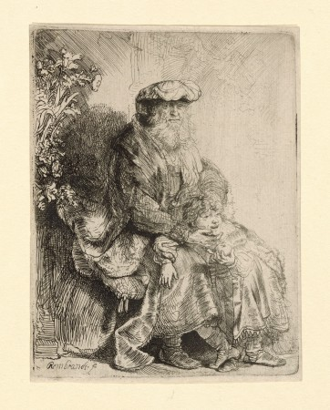 """Abraham Caressing Isaac,"" circa 1637–45, by Rembrandt (1606–1669). Etching, state i/iv, 4 1/2 inches by 3 1/2 inches, The Morgan Library & Museum. (The Morgan Library & Museum)"
