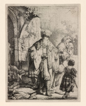 """Abraham Casting Out Hagar and Ishmael,"" 1637, by Rembrandt (1606–1669). Etching with touches of drypoint, only state, 4 7/8 inches by 3 3/4 inches, The Morgan Library & Museum. (The Morgan Library & Museum)"