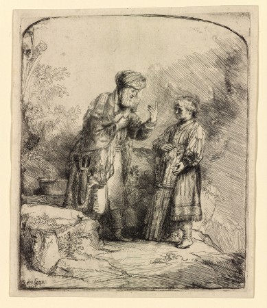 """Abraham and Isaac,"" 1645, by Rembrandt (1606–1669). Etching and burin, state i/ii, 6 1/8 inches by 5 1/8 inches, The Morgan Library & Museum. (The Morgan Library & Museum)"