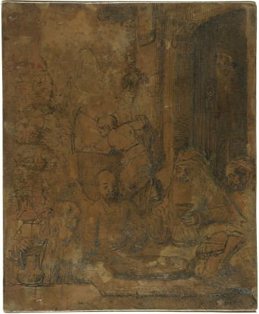 """Abraham Entertaining the Angels [recto],""  1656, by Rembrandt van Rijn (Dutch, 1606-1669). Etched copperplate with drypoint, National Gallery of Art, Washington. Gift of Ladislaus and Beatrix von Hoffmann and Patrons' Permanent Fund. (National Gallery of Art, Washington)"