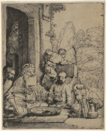 """Abraham Entertaining the Angels,"" 1656, by Rembrandt van Rijn (1606-1669).  Etching and drypoint on japan paper, only state 6 5/16 inches by 5 1/8 inches, National Gallery of Art, Washington, New Century Fund. (National Gallery of Art, Washington)"