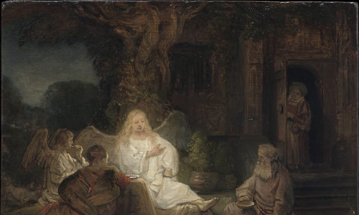 """""""Abraham entertaining the Angels,"""" 1646, by Rembrandt (1606–1669). Oil on panel, 6 3/8 inches by 8 3/8 inches, private collection. (Courtesy of The Metropolitan Museum of Art)"""