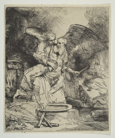 """Sacrifice of Isaac,"" 1655, by Rembrandt (1606–1669). Etching and drypoint, only state, 6 1/8 inches by 5 1/8 inches, The Metropolitan Museum of Art, Bequest of Ida Kammerer, in memory of her husband, Frederic Kammerer, M.D. 1933. (The Metropolitan Museum of Art)"