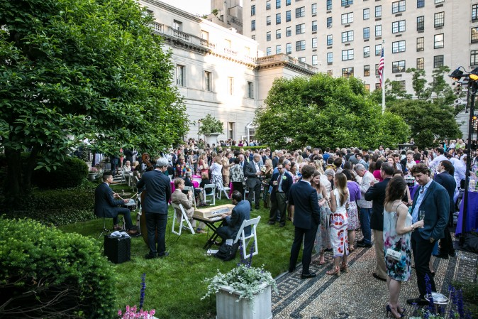 Jazz band The Flail perform at The Frick's Spring Garden Party.  (Benjamin Chasteen/The Epoch Times)