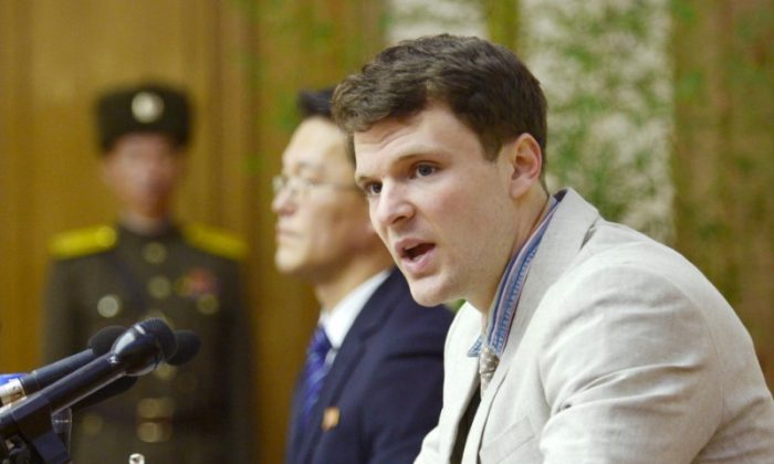 Otto Frederick Warmbier, a University of Virginia student who has been detained in North Korea since early January, attends a news conference in Pyongyang, North Korea, in this photo released by Kyodo on Feb. 29, 2016. (Mandatory credit REUTERS/Kyodo)