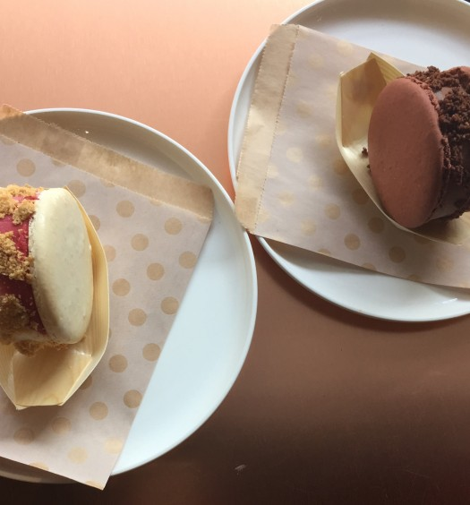 Kreuther Handcrafted Chocolate's macaron ice cream sandwich, in mixed berry and chocolate flavors. (Annie Wu/The Epoch Times)