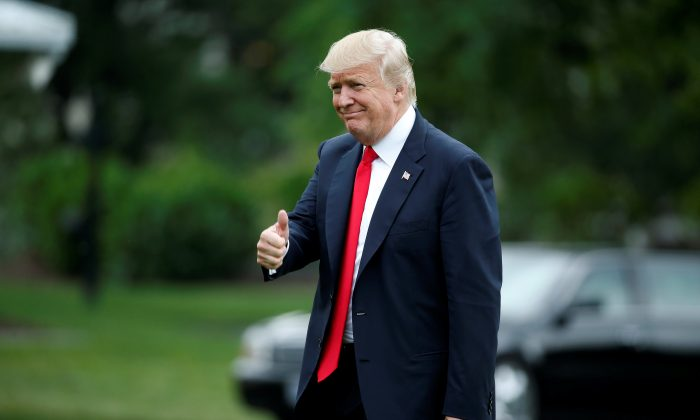 President Donald Trump returns from a day trip to Ohio at the White House in Washington on June 7, 2017. (Joshua Roberts/Reuters)