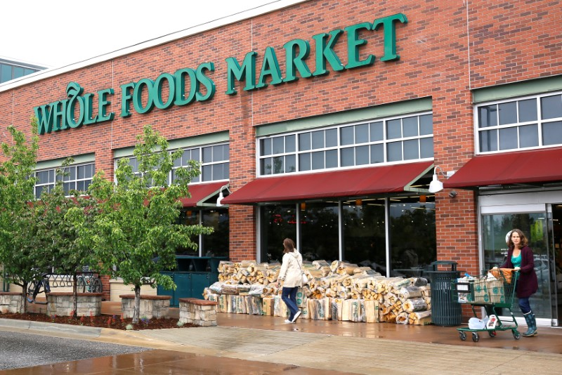 Customers leave the Whole Foods Market in Boulder, Colorado on May 10, 2017.  (REUTERS/Rick Wilking)