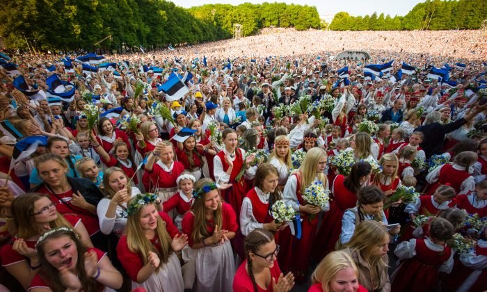 Singers at the 26th Song Celebration in Tallinn on July 6, 2014, the last time the celebration was held. The concerts are held every five years. (Ilmars Znotins)