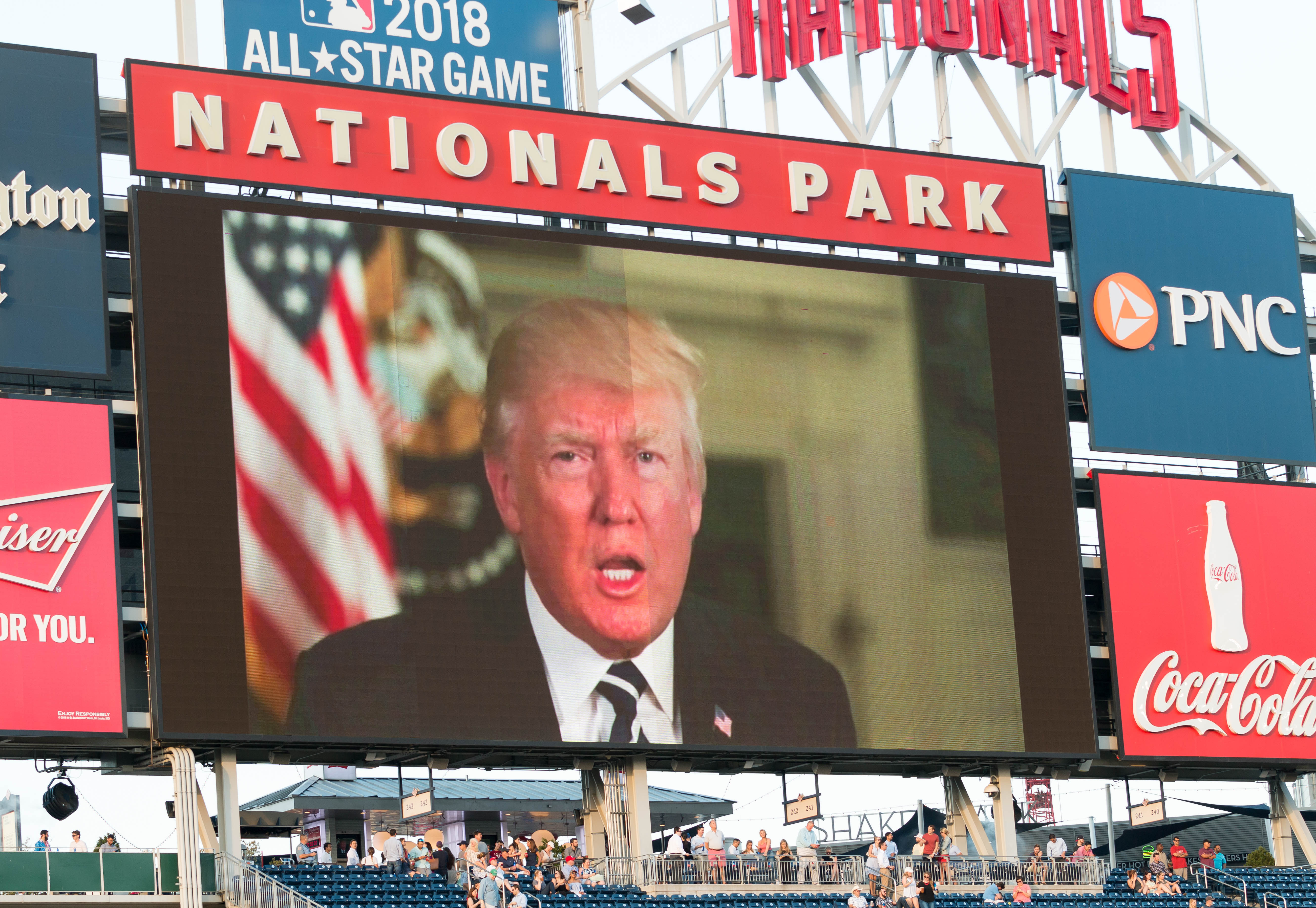 President Trump delivered a recorded video message to the game attendants at the Congressional Baseball Game on Thursday. (Paul Huang)