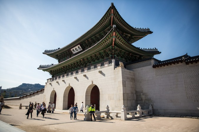 The South Gate which is the main and largest gate to the Gyeongbokgung Palace, Korea's largest palace. It has been destroyed and restored several times since it was first damaged by a fire when Japan invaded Korea in the 16th century. (Benjamin Chasteen/The Epoch Times)