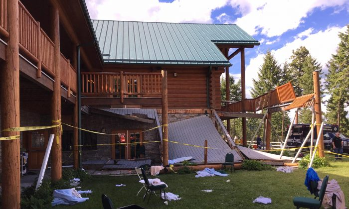 Collapsed deck at Glacier Camp lodge in Lakeside, Montana, on June 17, 2017. (Somers/Lakeside Fire Department)