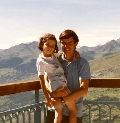 Young Sibylle Eschapasse and her father Rene-Victor Eschapasse in the French Alps . (Marie-Astrid Eschapasse)
