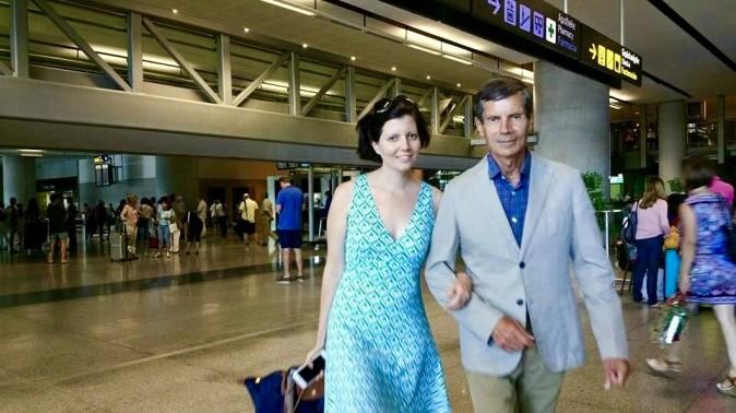 Sibylle Eschapasse and father Rene-Victor Eschapasse in Malaga airport, Spain. (Marie-Astrid Eschapasse)