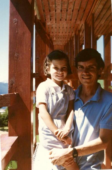 Young Sibylle Eschapasse and father Rene-Victor Eschapasse in Les Arcs, France. (Marie-Astrid Eschapasse)