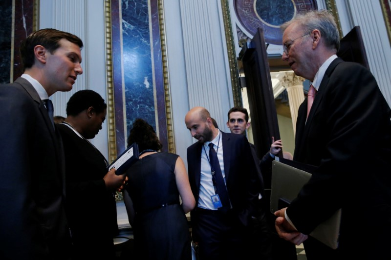 Alphabet Executive Chairman Eric Schmidt (R) speaks with White House senior adviser Jared Kushner (L) as tech company leaders gather at a summit of the American Technology Council at the Eisenhower Executive Office Building in Washington on June 19, 2017. (REUTERS/Jonathan Ernst)