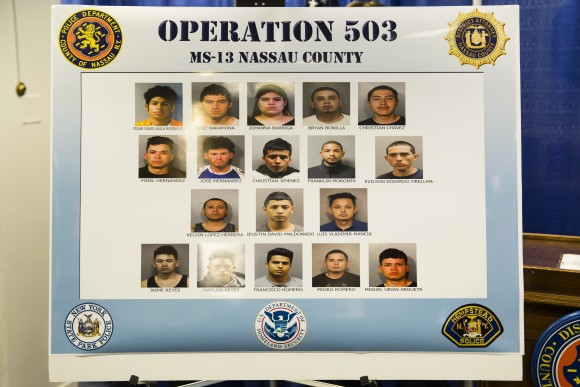 A few of the alleged MS-13 gang members named in the 85-count indictment, including eight attempted murders, in Nassau County, Long Island, N.Y., on June 15, 2017. (Samira Bouaou/The Epoch Times)