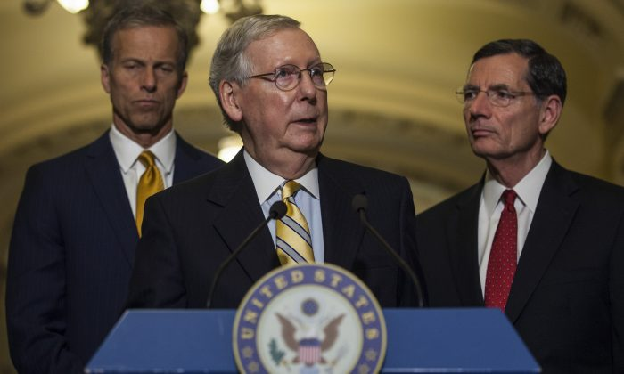 Senate Majority Leader Mitch McConnell (R-KY) speaks during a weekly press conference following a policy luncheon on Capitol Hill on June 13, 2017 in Washington, D.C. (Zach Gibson/Getty Images)