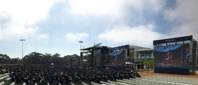 Around 6,000 graduates on RIMAC listening to Dalai Lama's commencement speech on Saturday, June 17. (Sophia Fang/Epoch Times)