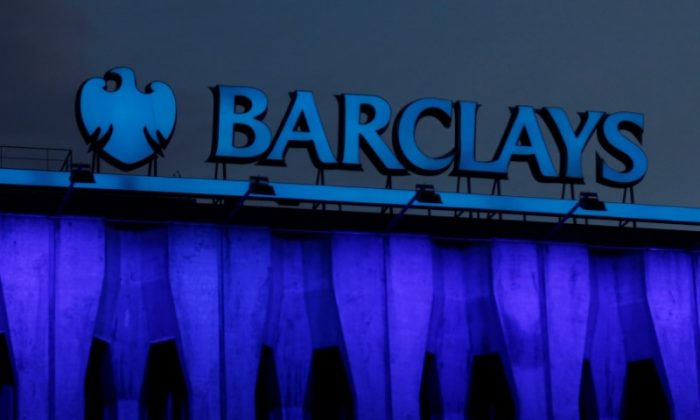The logo of Barclays is seen on the top of one of its branches in Madrid, Spain on March 22, 2016. (REUTERS/Sergio Perez)