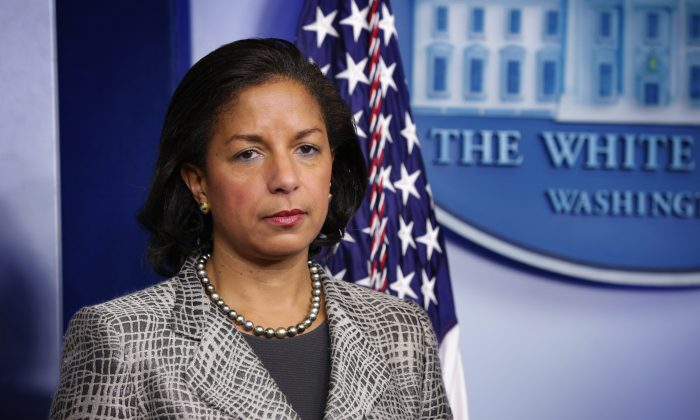 Former National Security Adviser Susan Rice listens during the White House Daily Briefing at the James Brady Press Briefing Room of the White House in Washington, DC on March 21, 2014. (Alex Wong/Getty Images)