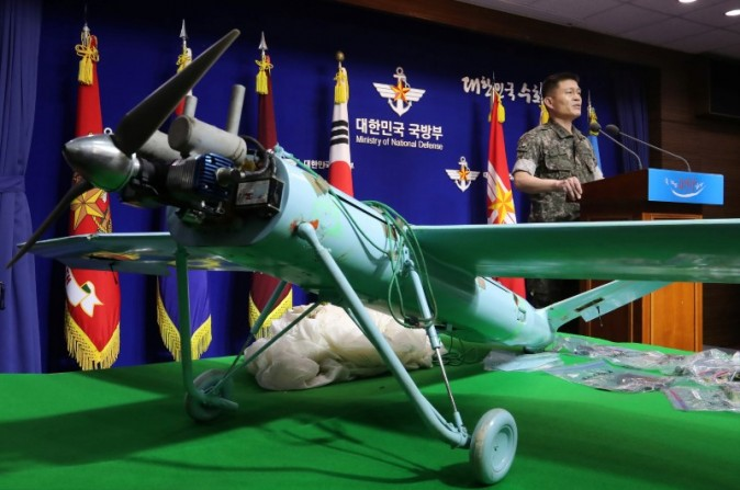 A small aircraft, which South Korea's Military says is a drone from North Korea, is seen at the Defense Ministry in Seoul, South Korea, June 21, 2017.  (Lee Jung-hoon/Yonhap via Reuters)