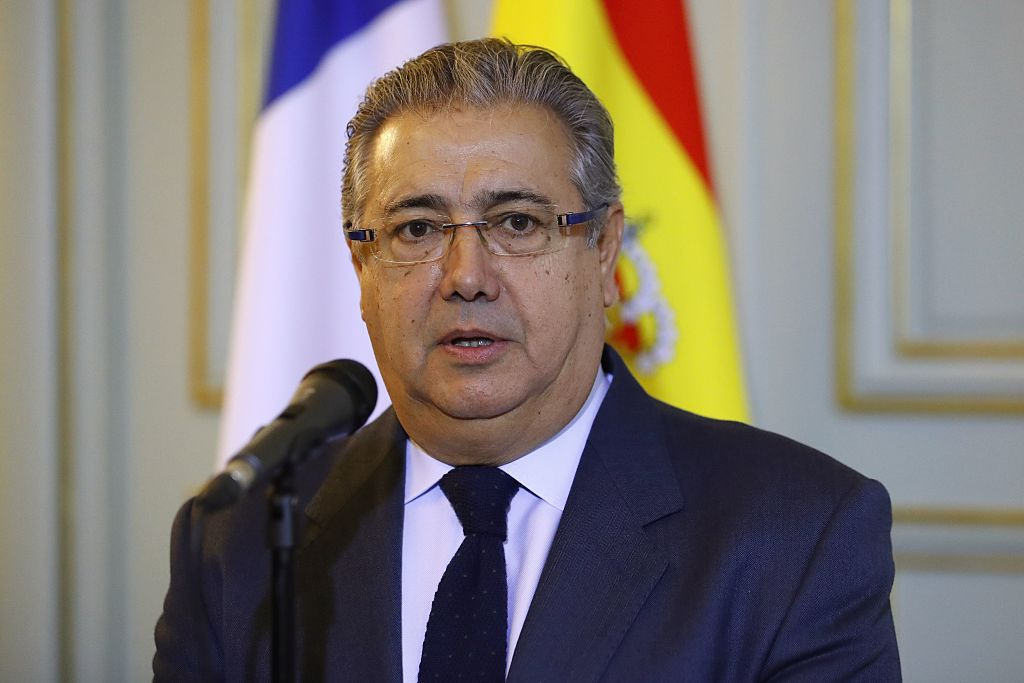 Spanish Interior Minister Juan Ignacio Zoido during a joint press conference with his French counterpart, after their meeting , at the Hotel de Beauvau, the Ministry of the Interior, in Paris on Jan. 10, 2017.(PATRICK KOVARIK/AFP/Getty Images)