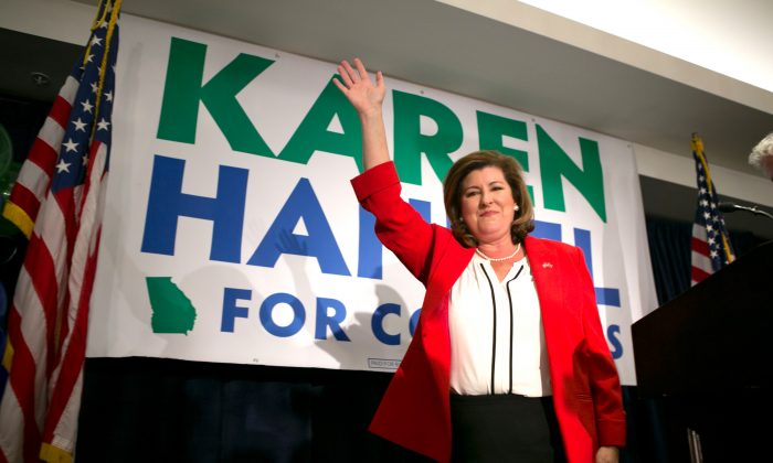 Georgia's 6th Congressional district Republican candidate Karen Handel gives a victory speech to supporters gathered at the Hyatt Regency at Villa Christina on June 20, 2017 in Atlanta, Georgia. (Jessica McGowan/Getty Images)