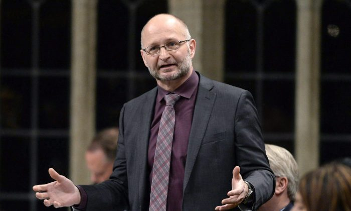 David Lametti, parliamentary secretary to the Minister of Innovation, Science and Economic Development, speaks during question period on Parliament Hill on Feb. 24, 2017, in Ottawa. The former McGill law professor is a specialist in intellectual property and is leading the Canadian government's efforts to formulate a new IP strategy. (The Canadian Press/Justin Tang)