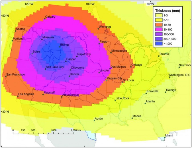 Model of ash distribution after a possible explosion of the Yellowstone supervolcano. (U.S. Geological Survey)