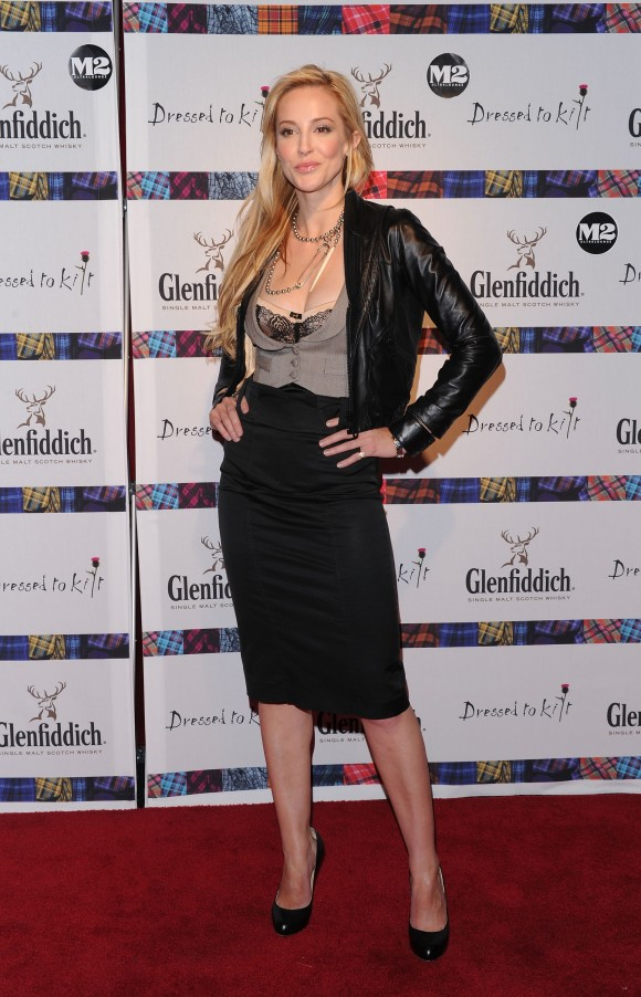 "Actress Louise Linton attends the 8th annual ""Dressed To Kilt"" Charity Fashion Show presented by Glenfiddich at M2 Ultra Lounge on April 5, 2010 in New York City. (Andrew H. Walker/Getty Images)"