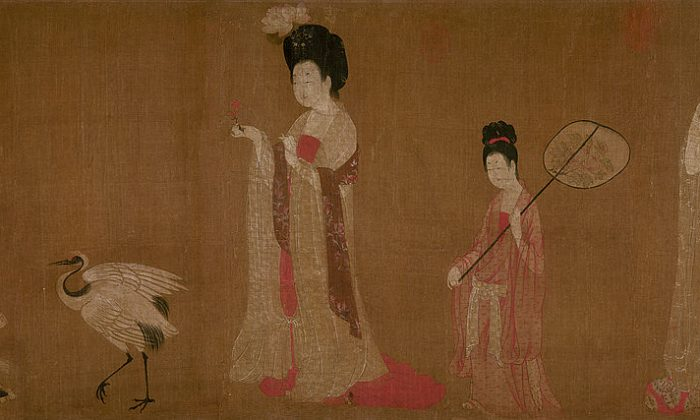 """""""Court Ladies Wearing Flowered Headdresses,"""" by Zhou Fang. Silk hand scroll, 18 inches by 71 inches, Liaoning Provincial Museum, Shenyang Province, China. (Public domain)"""