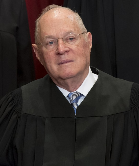 US Supreme Court Associate Justice Anthony M. Kennedy sits for an official photo with other members of the US Supreme Court in the Supreme Court in Washington, DC, June 1, 2017. (Saul Loeb/AFP/Getty Images)