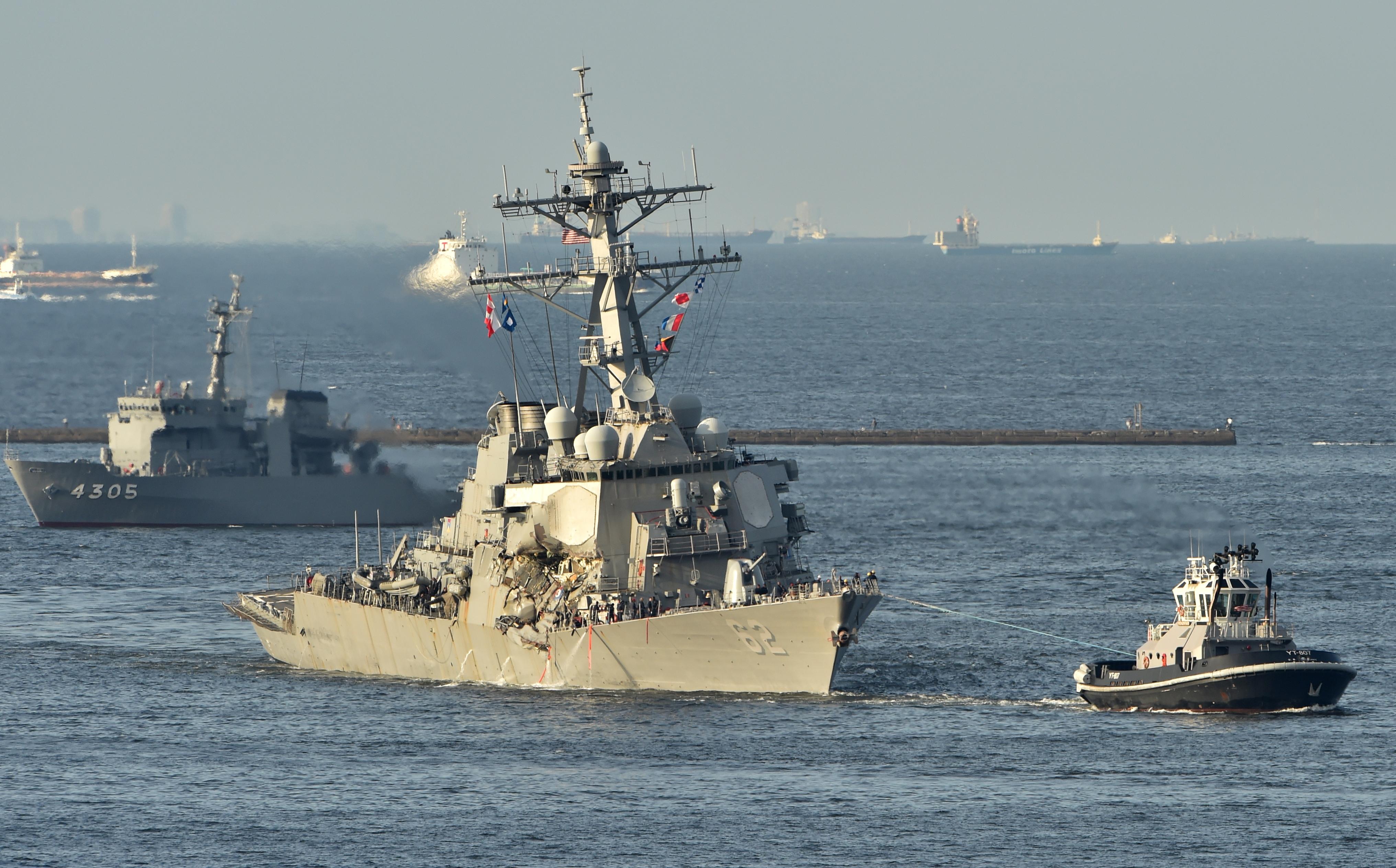 US Navy guided missile destroyer USS Fitzgerald arrives at its mother port US Naval Yokosuka Base, Kanagawa prefecture on June 17, 2017. (Kazuhiro Nogi/AFP/Getty Images)