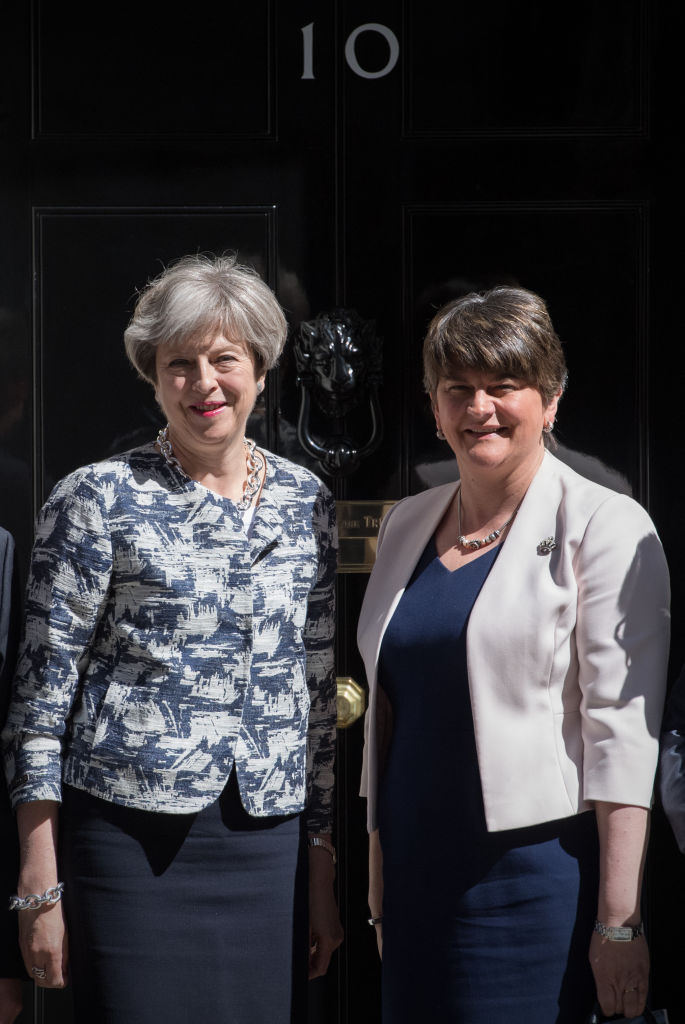 Britain's Prime Minister, Theresa May (L), greets Arlene Foster, the leader of Northern Ireland's Democratic Unionist Party in Downing Street in London, England on June 26, 2017. (Carl Court/Getty Images)