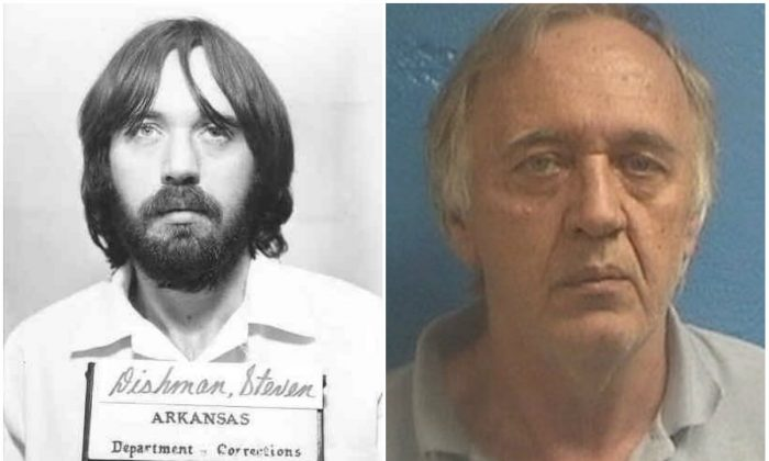 Steven Dishman in 1984 (L) and on June 25, 2017. (Arkansas Department of Corrections)
