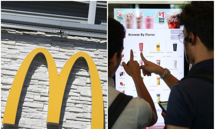 L: A McDonald's sign on the outside of a restaurant on April 25, 2017 in Miami, Florida; R: Customers use the digital screen to place an order at a McDonald's restaurant on April 25, 2017 in Miami, Florida. (Joe Raedle/Getty Images)