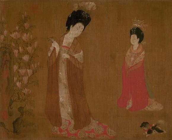 """Court Ladies Wearing Flowered Headdresses,"" (detail). (Public domain)"