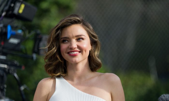 Supermodel Miranda Kerr attends 'Buick Super Bowl ad featuring the cascada and encore with football star Cam Newton and supermodel Miranda Kerr' in Los Angeles, Calif., on Jan. 13, 2017. (Emma McIntyre/Getty Images for Buick)