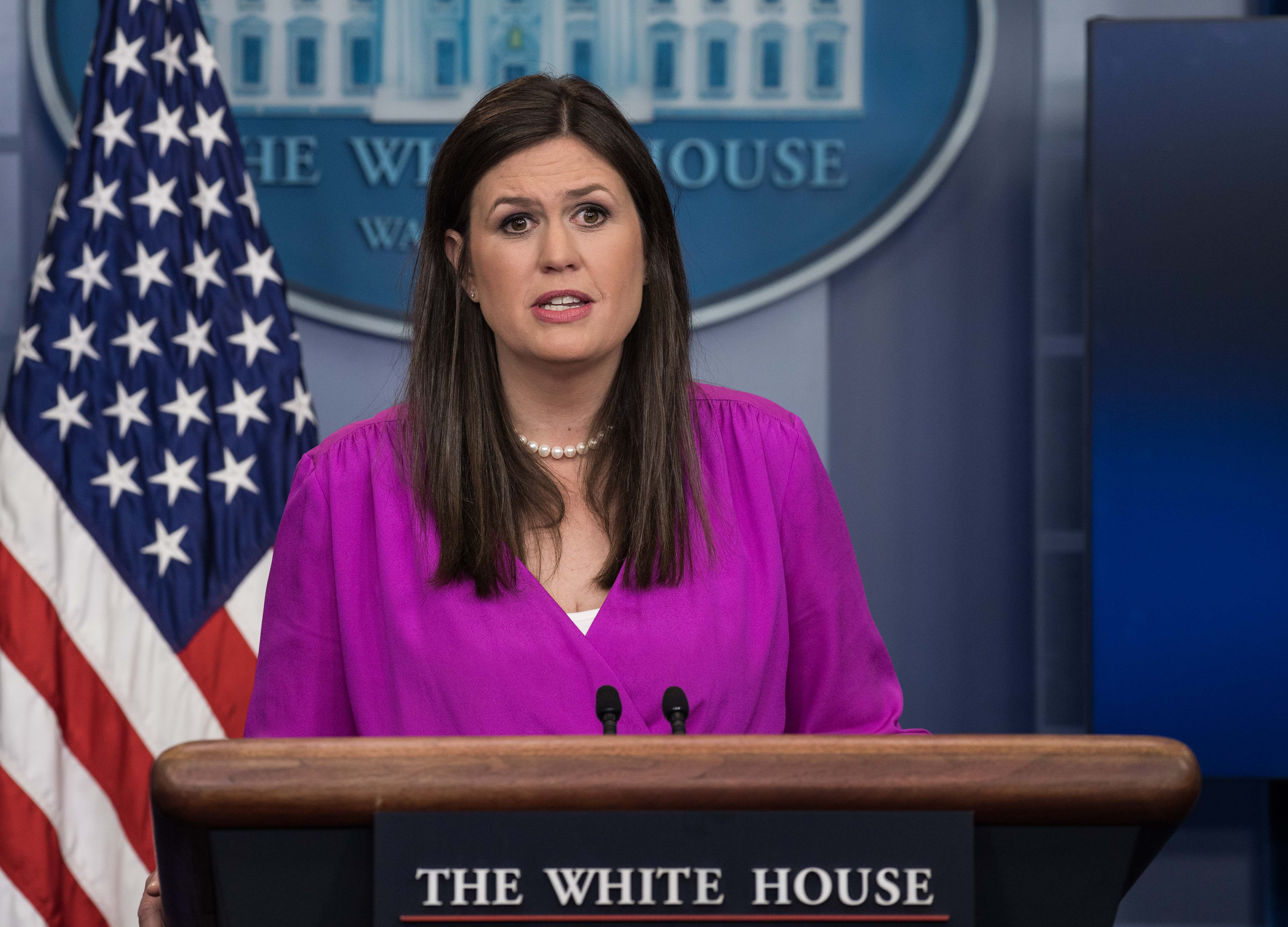 White House Press Secretary Sarah Huckabee Sanders speaks at the press briefing at the White House in Washington, DC, on June 27, 2017. (Nicholas Kamm/AFP/Getty Images)