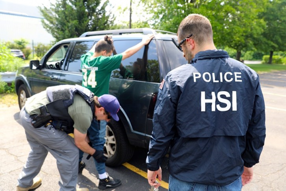 An alleged MS-13 gang member is arrested during Operation Matador, a 30-day gang sweep in New York. (Courtesy of ICE)