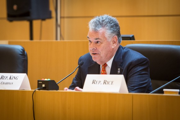 Rep. Peter King (R–N.Y.) at a congressional hearing on MS-13 gang violence in Central Islip, Long Island, N.Y., on June 20, 2017. (Benjamin Chasteen/The Epoch Times)